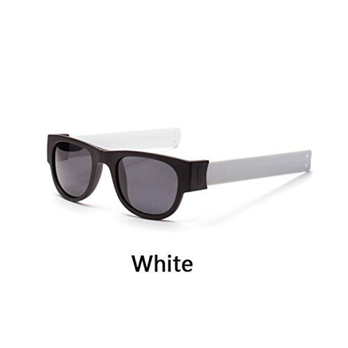 FGRYGF-eyewear2 Sport-Sonnenbrillen, Vintage Sonnenbrillen, Mini Folding Polarized Sunglasses WoMänner Männer Cool Trendy Outdoor Sport Slap Sunglasses UV400 Black Bracelet Oculos P1801 White