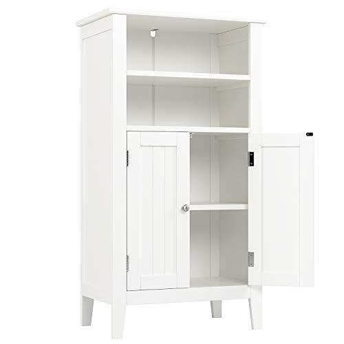 Homfa Badezimmerschrank mit 4 Ablagen Badschrank Aufbewahrungsschrank Mehrzweckschrank Badkommode Badezimmermöbel weiß aus Holz 50x30x92.5cm