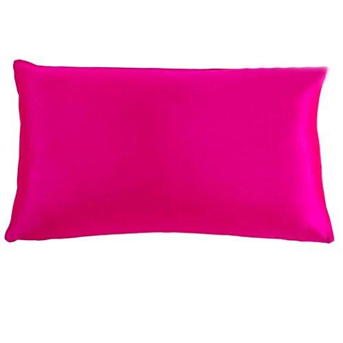 Feder Seide Dekorativen Kissen (Seide Kissen, wanshop® Luxus Weiche Rechteck Kissenbezug Seide Werfen Kissen Fall Kissenbezug mit verstecktem Reißverschluss 50* 76cm, hot pink, 50*76cm)