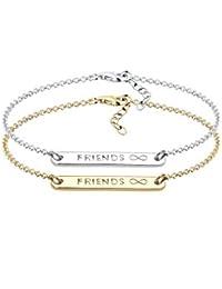 Elli - Bracelet de Chaine Friends - Forever Freundschaftsarmbänder Freundschafts - Set Argent - 925/1000 Plaqué Or Longueur 17 cm - 0204992216_17