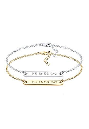 *Elli Damen Gliederarmband Freundschaftsarmbänder 925 Sterling Silber Vergoldet 17 cm*