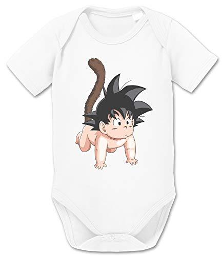 Son Baby Dragon Ball Strampler Bio Baumwolle Body Jungen & Mädchen 0-12 Monate, Größe:62/2-3 Monate, Farbe:Weiss