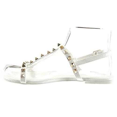 Angkorly Scarpe da Moda Sandali Cinturino Donna Borchiati Fibbia DOro Tacco Tacco Piatto 1 cm Bianco