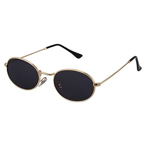 SODIAL Ovale Sonnenbrille Herren Damen Vintage Maennlich Weiblich Retro Sonnenbrille Runde Brillen S8006 goldener Rahmen schwarz