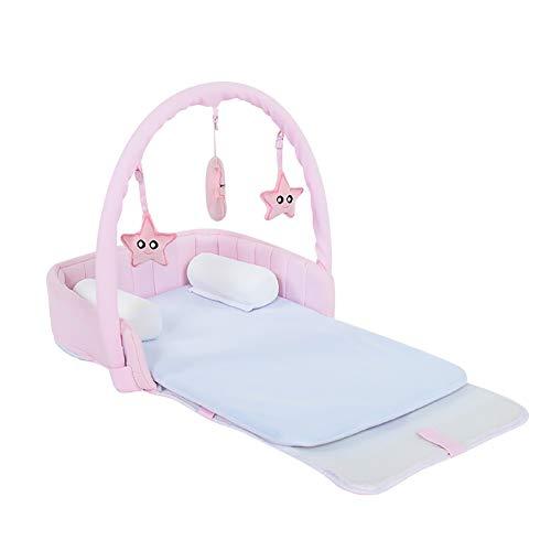 HLR Kinderbett Babyreisebetten Reisen Tragbar Bionic Druckentlastung Multifunktional Falten Spielbett (Color : Pink) -