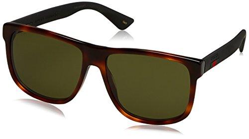 Gucci Herren GG0010S 006 Sonnenbrille, Braun (Avana/Green), 58