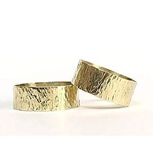 FloweRainboW Breite Trauringe 585 Gelbgold Texturiert – Hochzeitsringe/Eheringe/Verlobungsringe – Damen/Männer