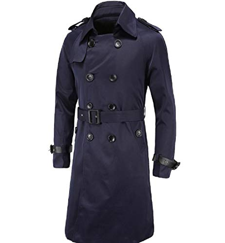 CuteRose Men's Double Breasted Regular-Fit Classic Mid-Long Parka Jackets Navy Blue L Breasted Belted Wool Coat