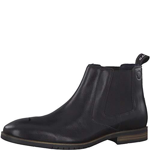 s.Oliver Herren Stiefeletten 15303-23, Männer Chelsea Boots, Maenner maennliche maskulin rustikal robust Men's Man,Black Leather,42 EU / 8 UK