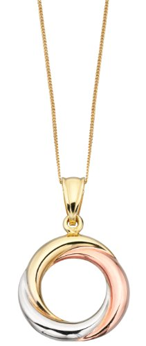 Elements Gold Ladies 9ct Yellow, White and Rose Gold Twisted Ring Pendant with Chain of Length 46cm