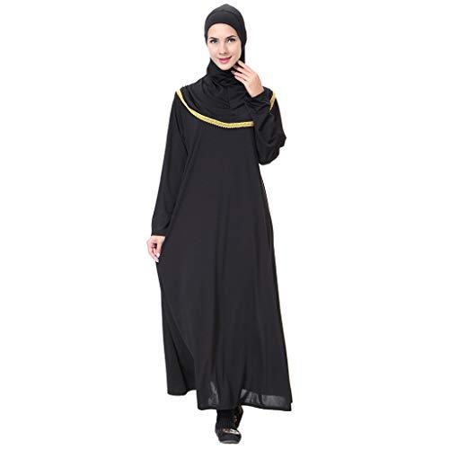 Kinder Figur Kostüm Bibel - Lazzboy Muslimischen Maxikleid Trompetenärmel Abaya Lange Kleider Tunika Gürtel Frauen Muslimische Dubai Kaftan Marokkanischen Moslemisches Kostüm Kleidung Langarm(Gold,L)