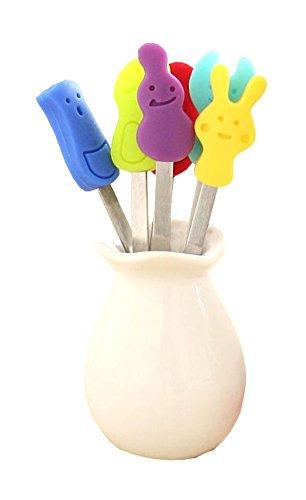 (AYOMI Obst-/Kuchen-/Salatspieße/Picks für Zuhause und Restaurant, süße Cartoon-Lebensmittel-Party-Picks, Zubehör, 6 Stück mit Gabel, Silikon-Griff, Edelstahl)