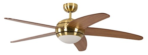 Deckenventilator mit Beleuchtung und Fernbedienung Melton, Gehäuse Messing, Flügelfarbe Honigahorn, 132 cm