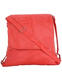 CFI Peach Synthetic Leather Sling Bag For Women / Girls
