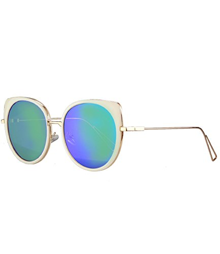 caripe moderne Herren Damen Desinger Vintage Sonnenbrille - detra1 (Modell1 - natur - bluegreen verspiegelt)