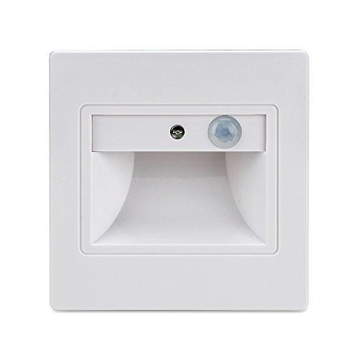 BLOOMWIN 10 Stück Wandleuchte mit Bewegungsmelder Warmweiß, Smart Bodenleuchte Wegleuchte Nachtleuchte Einbauleuchte Down LED Innen mit Sensor für Treppe, Boden, Weg, Bett, Büro, Korridor, Terrasse(Weiß)