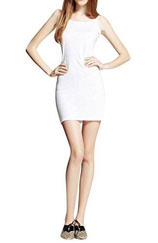 Pinkyee Damen Figurbetont Beach Kleid Weiß