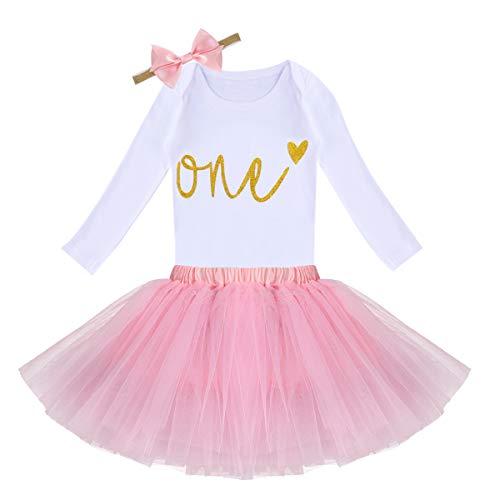 OwlFay Baby Mädchen Kleidung Es ist Mein 1. Geburtstag Party Kleid Tütü Outfit Langarm Strampler + Tüll Rock + Stirnband 3 Stück Weihnachten Prinzessin Kleid Fotoshooting Babybekleidung Rosa Eins