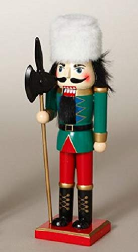 Gerson Green Guard with Ax and White Fur Hat Wooden Christmas 10 Inch Nutcracker Guard White Hat