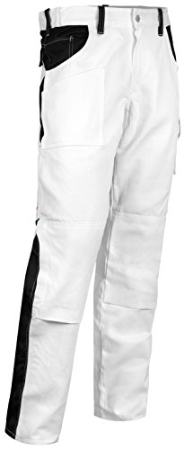 Maler Baumwolle Hose (KERMEN - Maler-hose Stuckateur Putzer Arbeits-hose mit Kniepolstertaschen - made in EU - 100% BW 260gm Weiß/Schwarz 56)