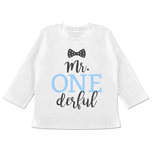 Geburtstag Baby - Mr. One Derful Schleife - 12-18 Monate - Weiß - BZ11 - Baby T-Shirt Langarm