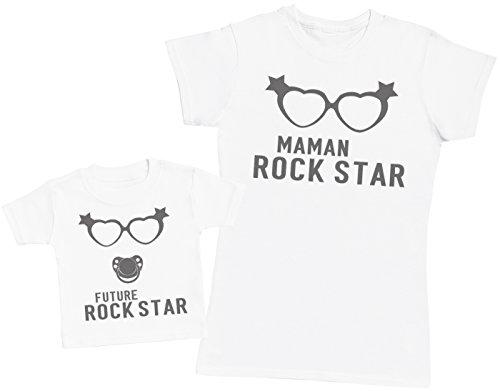 Future Rock Star Fille - Ensemble Mère Bébé Cadeau - Femme T Shirt & bébé T-Shirt - Blanc - M & 1-2 Ans