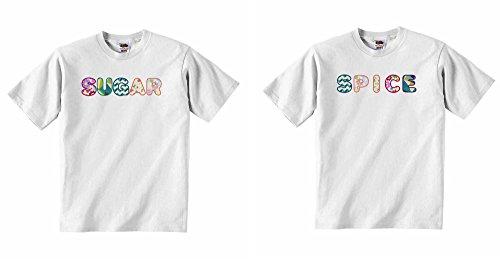 Zucker Spice-Jungen Mädchen T-Shirt personalisierbar Tees Unisex Tshirt Kleidung-Weiß-1-2Jahre