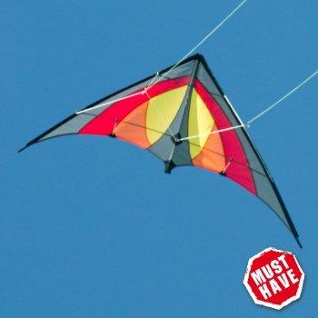 Lenkdrachen - SHURIKEN MUSTHAVE Red Desert - Kite für Kinder ab 8 Jahren - 120x60cm - inklusiv Steuerleinen auf Rollen - Einsteiger Lenkdrachen