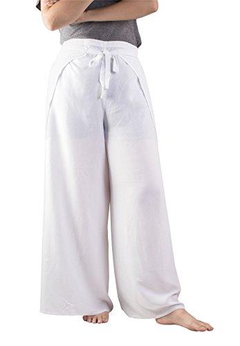 Lofbaz Femme Plain Palazzo Fisherman Pants Wrap Rayonne Unie Blanc Taille Unique
