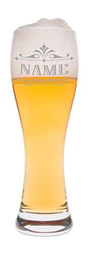 Leonardo Weizenglas mit Namen Gravur Wunschname - Geschenk für Männer ideal als Vatertagsgeschenk 0,5l Bierglas Weizenbierglas als Geburtstagsgeschenk für Männer