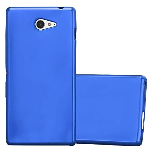 Cadorabo Hülle für Sony Xperia M2 - Hülle in METALLIC BLAU - Handyhülle aus TPU Silikon im Matt Metallic Design - Silikonhülle Schutzhülle Ultra Slim Soft Back Cover Case Bumper