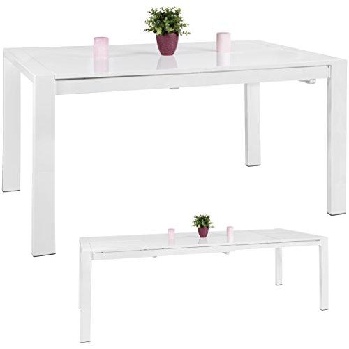Acht-personen-esstisch (WOHNLING Esszimmertisch GLORY 140 x 76 x 90 cm ausziehbar hochglanz weiß Metall Holz | Küchentisch für 6 - 8 Personen | Design Esstisch rechteckig um 2 x 45 cm erweiterbar)