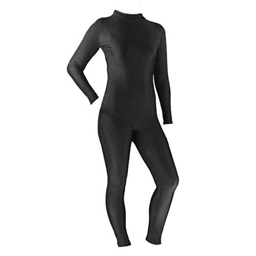 Baoblaze Damen Männer Ganzkörper Body Tanzkostüm Zentai Ganzkörperanzug Einteiler Jumpsuit Bodysuit Catsuit Anzug Langarm Tanzkleidung - Schwarz S