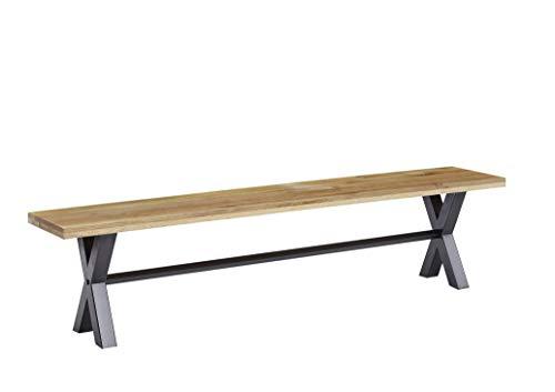 Main Möbel Bank Holz massiv Eiche 160cm Metall schwarz Phoenix -