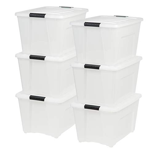 Iris USA, Inc. TB-56D 53 Quart Stack & Pull Box, Multi-Purpose Storage Bin, 6 Pack, Pearl