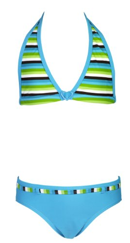 Landora® Mädchen Triangel Bikini in grün/türkis -- Oeko-Tex® Standard 100, Türkis, 140