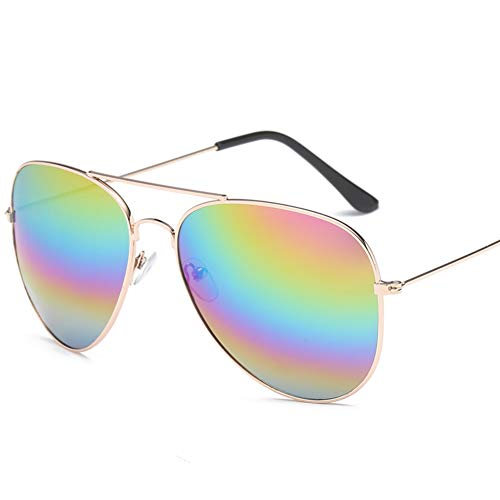 Outdoor Sonnenbrille Polarisierter Uv-schutz Aviator Unisex,anti Glare Sport Geeignet Für Wandern Radfahren-rose Gold Frame Regenbogen Stück 14.5x13.2cm(6x5inch)
