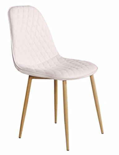 PEGANE Chaise en Tissu Blanche avec Pieds en Bois - Dim : L 45 x P 54 x P 85 cm
