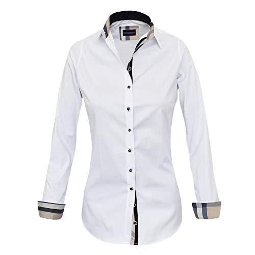 Button-down-bluse Aus Seide (HEVENTON Bluse Damen Langarm in Weiß Hemdbluse - Größe 36 bis 50 - elegant und hochwertig Farbe Weiß, Größe 48)