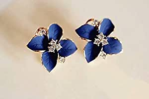 1 Pair Camellia Flower drip Rhinestone Earrings Earrings Earrings,Blue