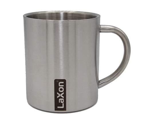 LaXon Edelstahlbecher, Thermotasse (0,3L, 1Stk, Silber, geschliffen) Metal Mug Blechtasse Metallbecher Coffee to go Cup