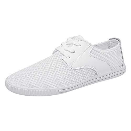 ZHANSANFM Schuhe Herren Segelschuhe Lace up Freizeit Leichte Outdoor Sportschuhe Rutschfeste Flacheschuhe Mesh Atmungsaktive Sneakers Mode Unifarben Outdoorschuhe Regular Fit Weiß -