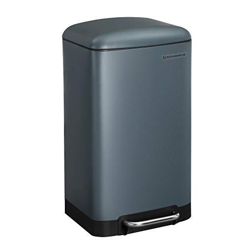 SONGMICS Mülleimer, 30 Liter Abfalleimer, Treteimer aus Stahl, mit Inneneimer und Deckel, Softclose, luftdicht, für Küche, Wohnzimmer, rauchgrau LTB01GS