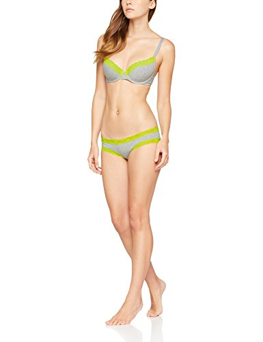 Iris & Lilly Damen Body Natural Hipster, 3er-Pack Mehrfarbig (Melange With Acid Lime Trim / Melage With Fiery Coral Trim)
