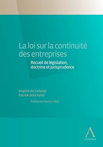 La loi sur la continuité des entreprises: Recueil de législation, doctrine et jurisprudence (Belgique) par Virginie de Callataÿ