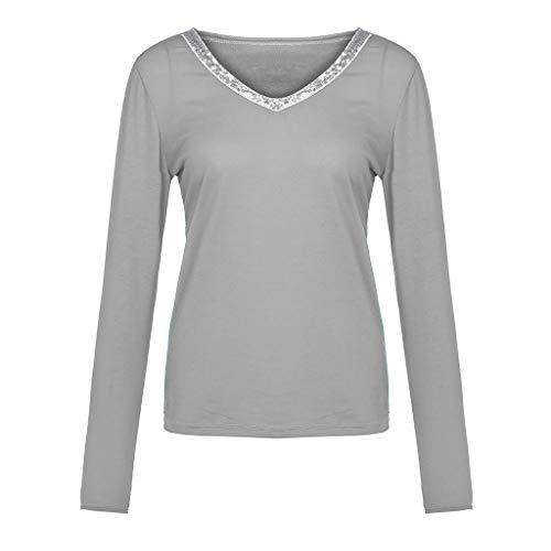 Makefortune Damen Mode Beiläufige reizvolle Pailletten der Art- und Weisefrauen Lange Hülse V-Ausschnitt übersteigt beiläufiges Blusen-T-Shirt mit Hohem Kragen Sweatshirt Pullover Scheint Tops
