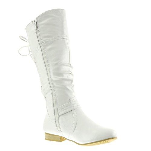 Angkorly - damen Schuhe Stiefel - Reitstiefel - Kavalier - Spitze - String Tanga - Schleife Blockabsatz 2 CM Weiß