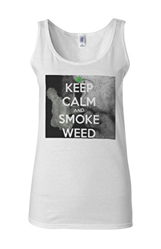 Kep Calm And Smoke Weed High Novelty White Femme Women Tricot de Corps Tank Top Vest **Blanc