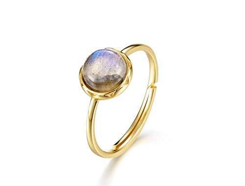 ZXH Neue europäische und amerikanische Ringe s925 Sterling Silber natürlich längliche Steinring Anti-Müdigkeit Gesundheit Ring Geburtstagsgeschenke (Längliche Ring Silber)