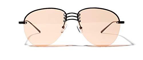 Sonnenbrille Randlose Sonnenbrille Für Frauen Halb - Randlose Orange Schwarz Übergrosse Sonnenbrille Orange Linse Männer Metall Geschenk Geburtstag